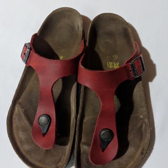 da3e9b93bcf8 Birkenstock Shoes - Birkenstock Red Leather Gizeh Sandals 38 7 7.5